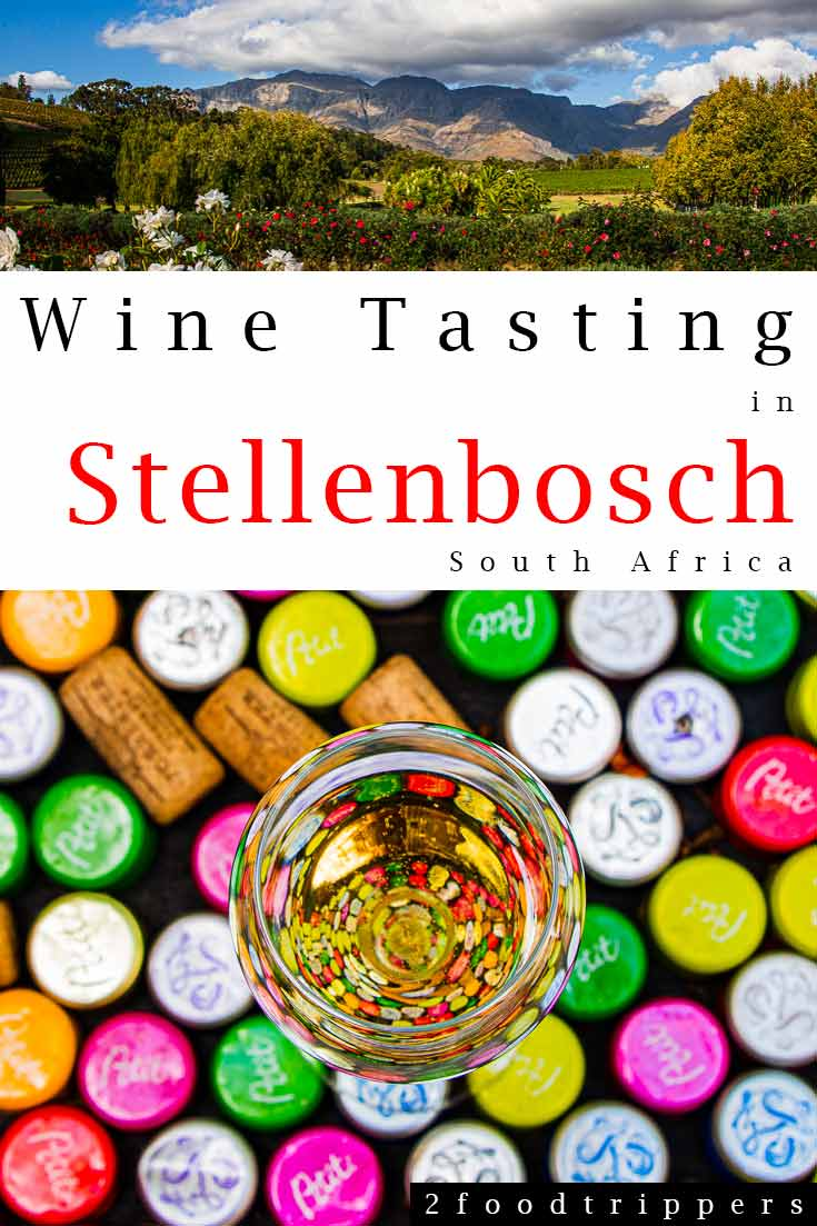 Pinterest image: two images of Stellenbosch with caption reading 'Wine Tasting in Stellenbosch'