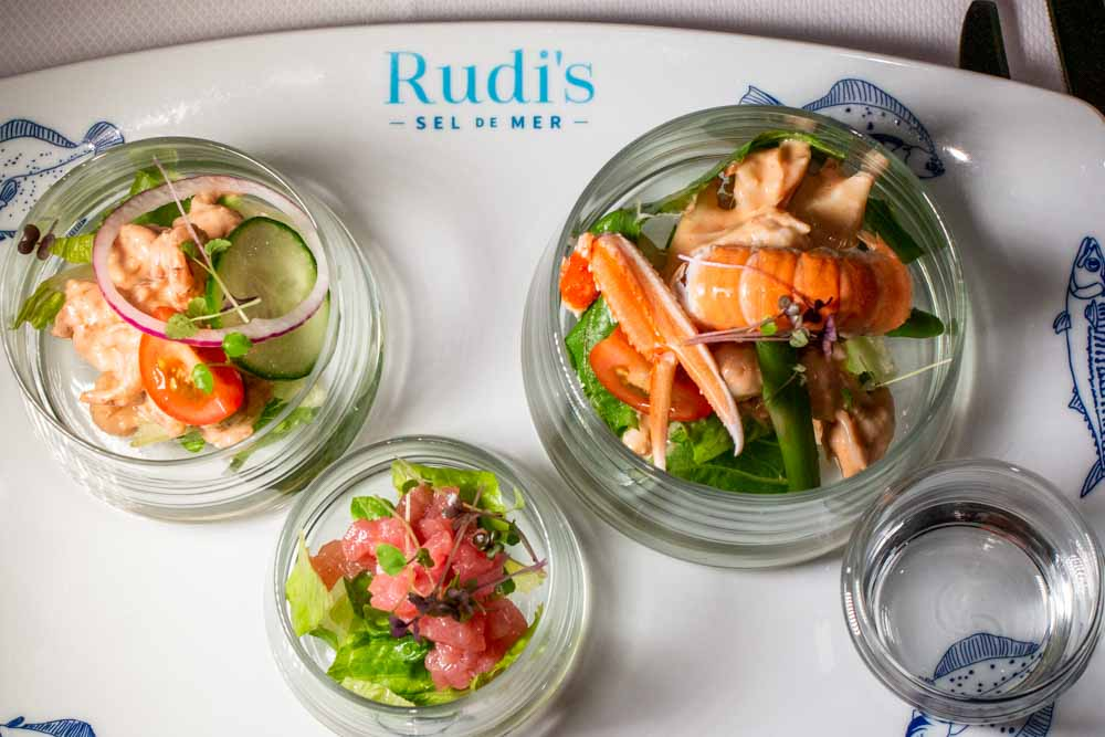 Trio of Seafood Salad at Rudis Sel de Mer on Nieuw Statendam Holland America Norway Cruise