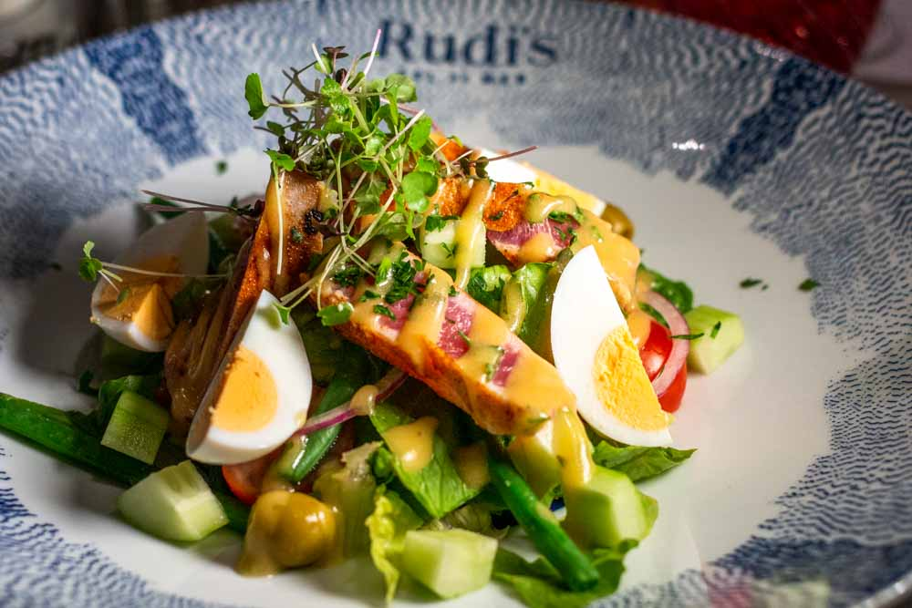 Tuna Salade Nicoise at Rudis Sel de Meron Nieuw Statendam Holland America Norway Cruise