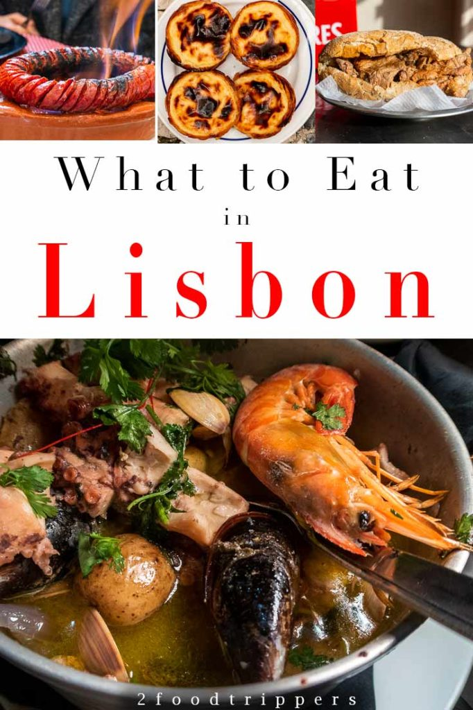 Pinterest image: four images of Lisbon with caption reading 'What to Eat in Lisbon'