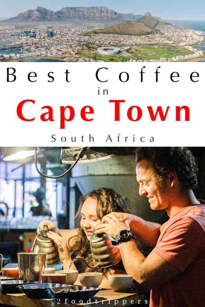Pinterest image: two images of Cape Town with caption reading 'Best Coffee in Cape Town South Africa'