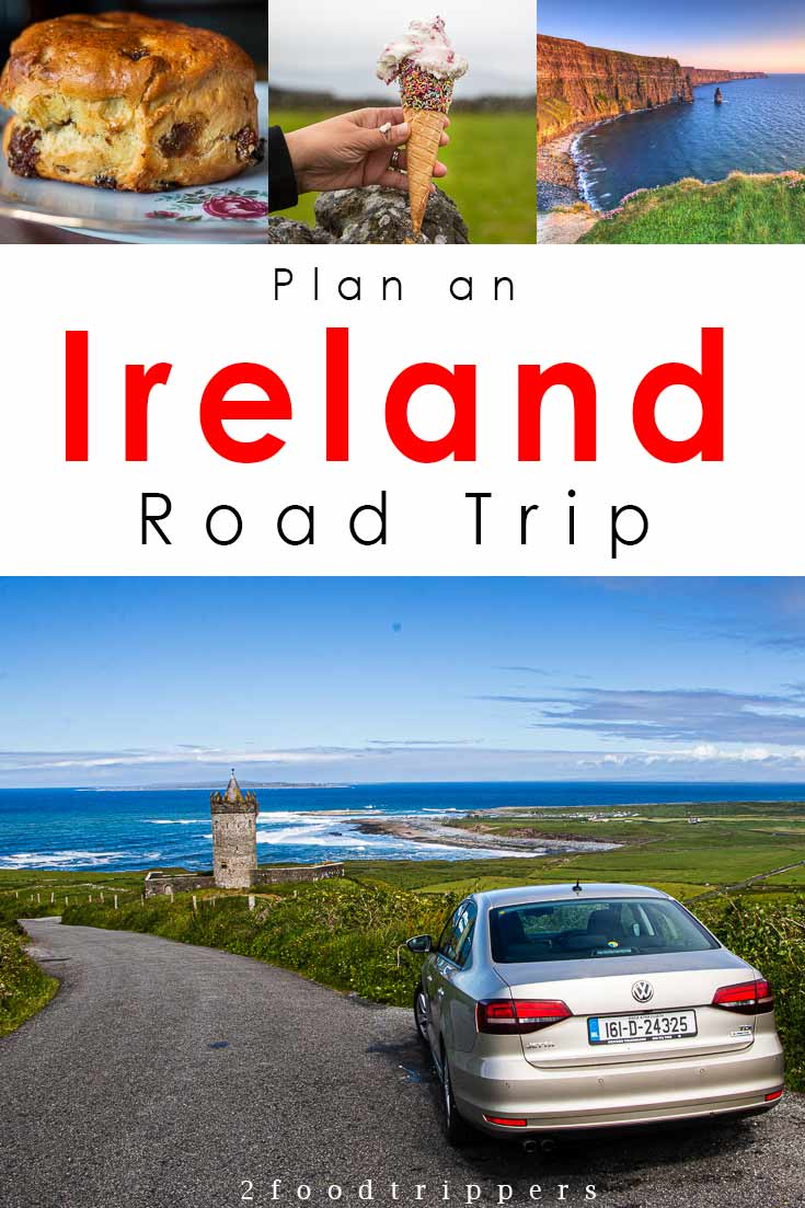 Pinterest image: four images of Ireland with caption reading 'Plan an Ireland Road Trip'