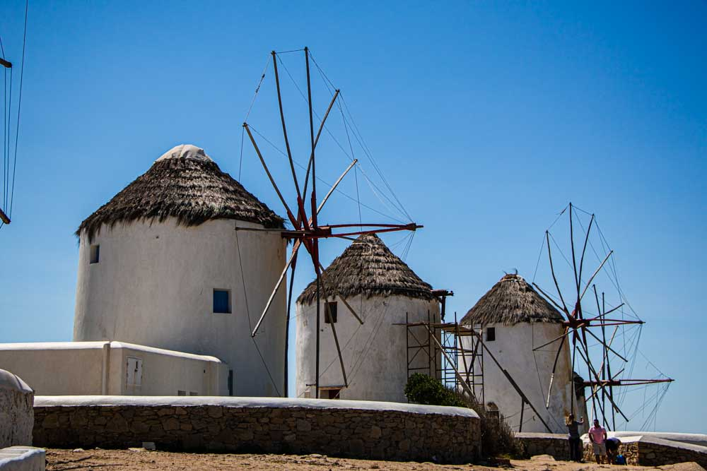 Mykonos Windmills with Blue Sky