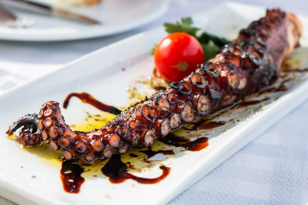 Grilled Octopus at To Psaraki in Santorini