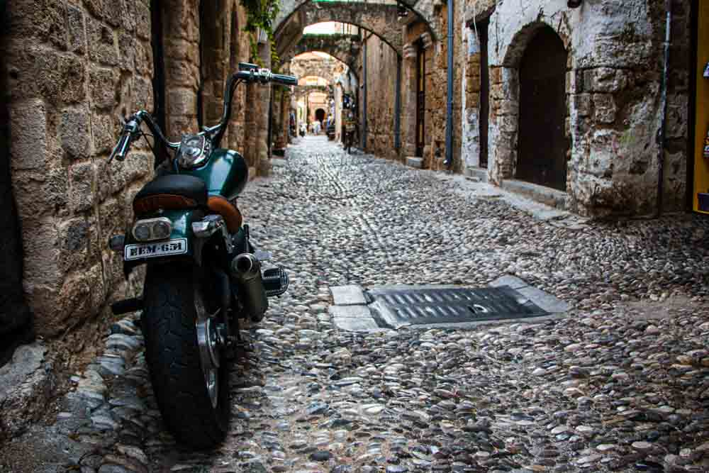 Motorcycle in Old Town Rhodes