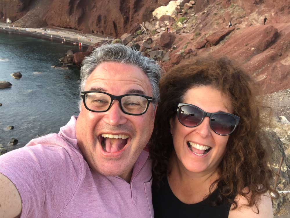 Red Beach Selfie in Santorini
