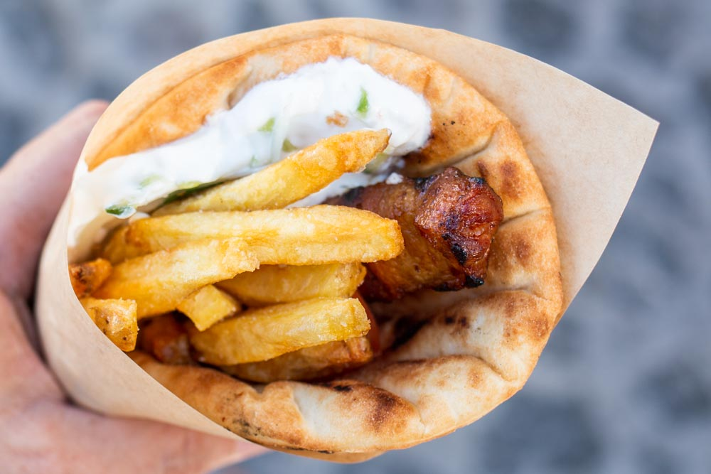 Spicy Sausage Gyro at Pitogyros in Santorini