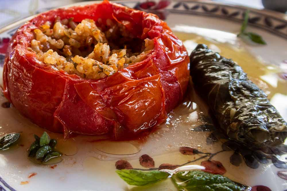 Stuffed Tomato and Dolmades at Paraga in Rhodes