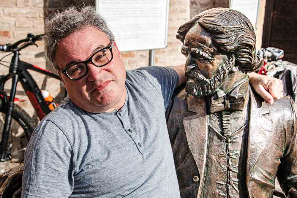 Daryl and Verdi Statue in Parma Italy