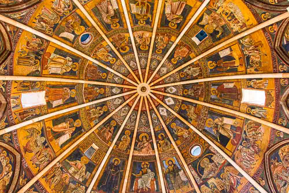 Painted Ceiling inside the Baptistery of Parma Italy