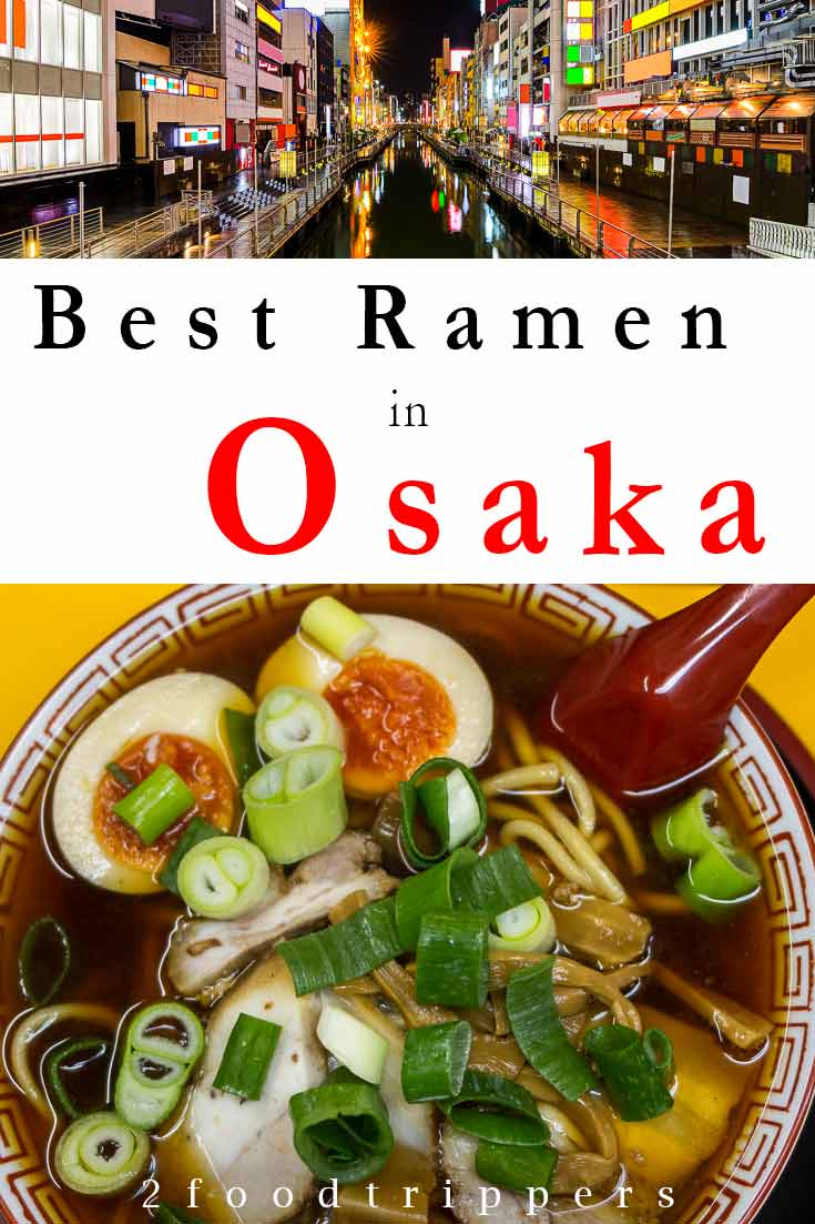 Pinterest image: image of ramen with caption reading 'Best Ramen in Osaka'