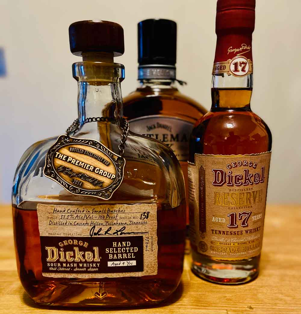 Bottles of Tennessee Bourbon