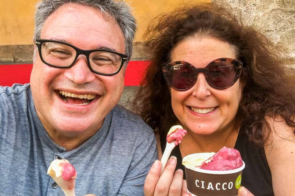 Eating Gelato at Ciacco Lab Parma in Parma