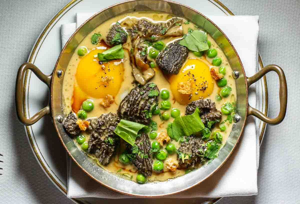 Eggs with Morels and Spring Peas at Le Coucou in New York