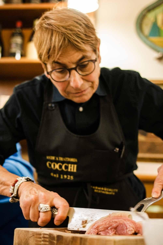 Female Chef at Ristorante Cocchi in Parma
