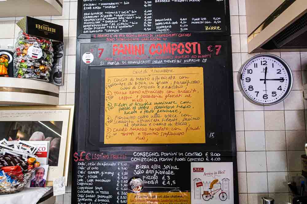Menu at Bar Schiavoni in Modena