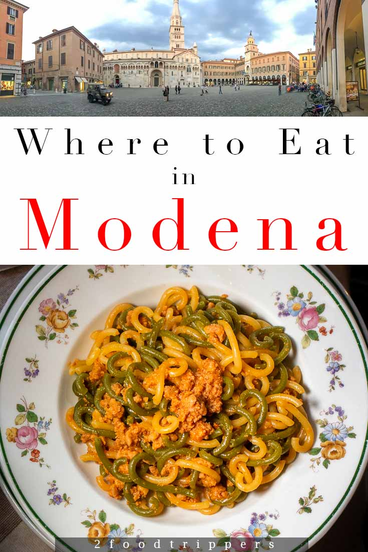 Pinterest image: two images of Modena with caption reading 'Where to Eat in Modena'