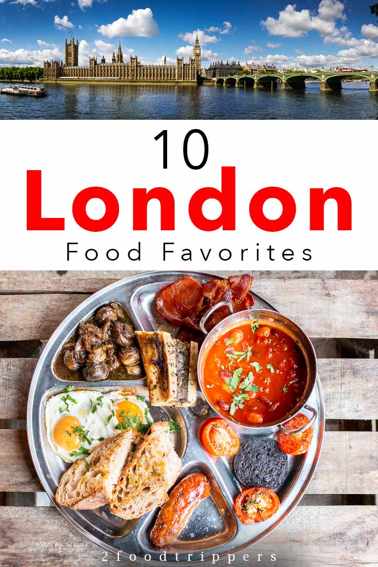 Pinterest image: two images of London and English Breakfast with caption reading '10 London Food Favorites'