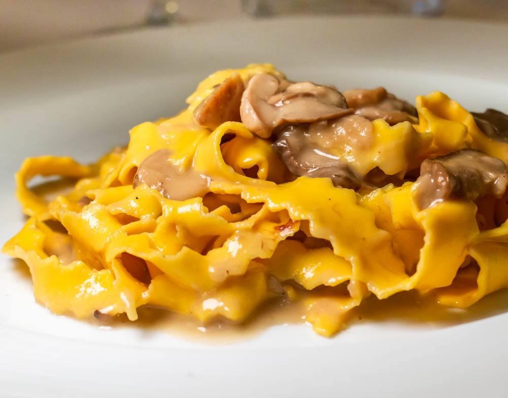 Tortellini with Porcini Mushrooms at Trattoria Ai Due Platani in Parma