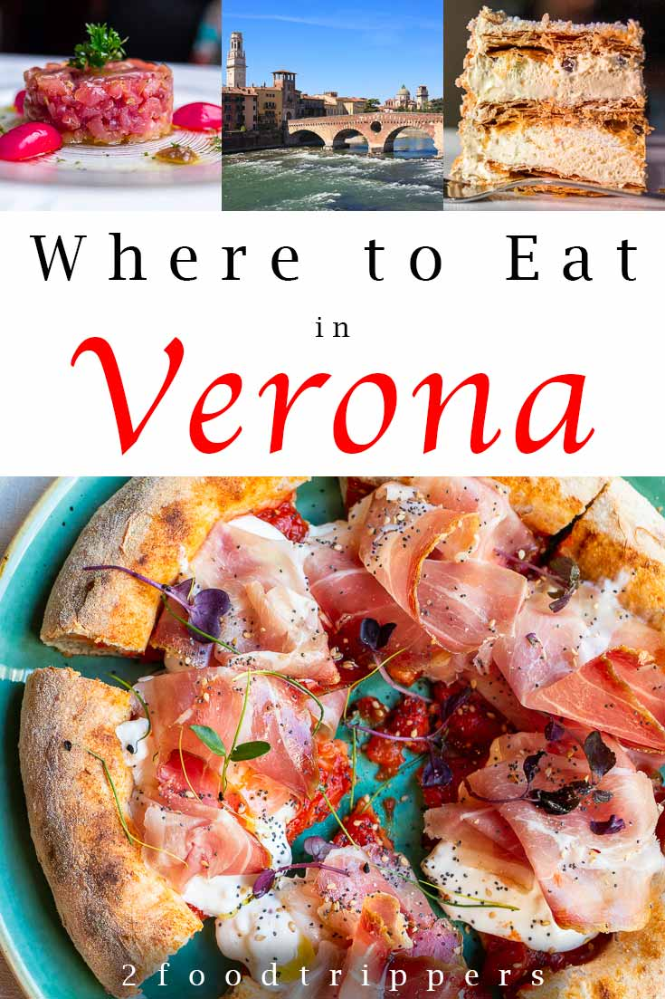Pinterest image: four images of Verona with caption reading 'Where to Eat in Verona'