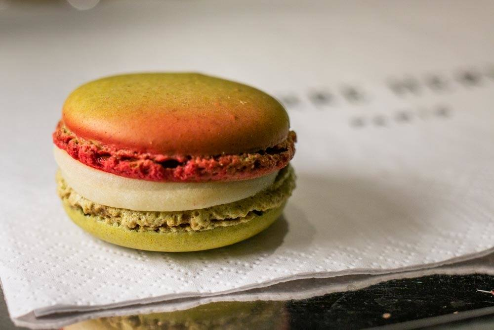 Verbena and Strawberry Macaron at Pierre Herme in Paris