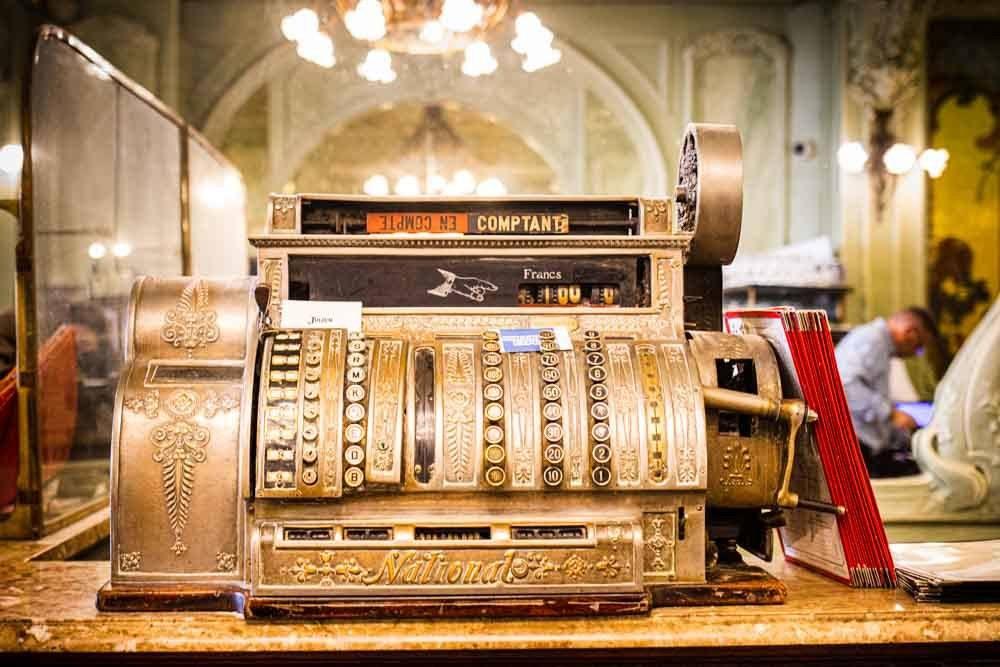 Vintage Cash Register at Bouillon Julien in Paris