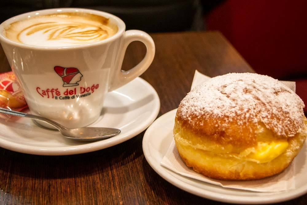 Coffee and Donut at Caffe del Doge in Venice