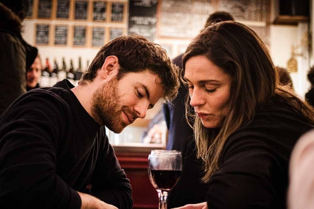 Couple at Le Baron Rouge in Paris