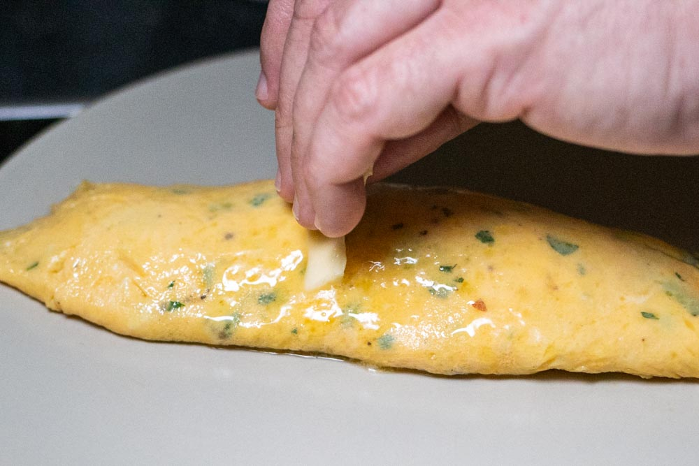 Finishing the Omelette with Butter