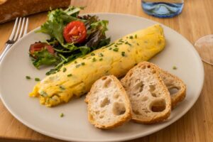 French Rolled Omelette on the Plate