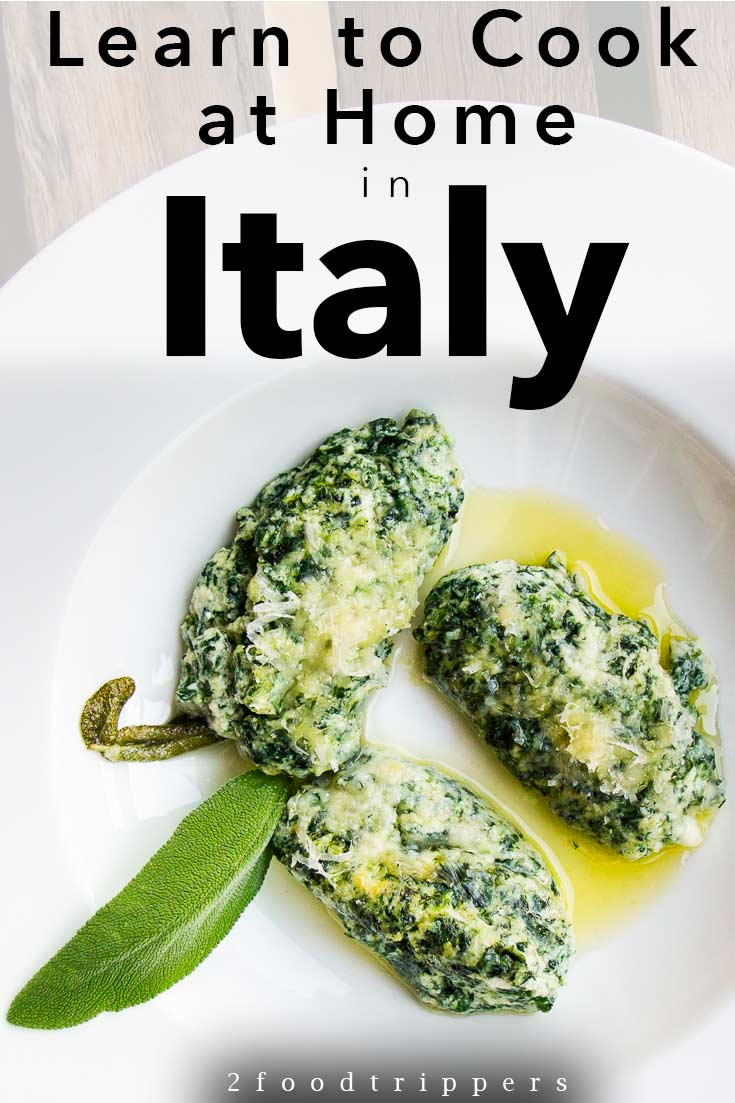 Pinterest image: image of Italian food with caption 'Learn to Cook at Home in Italy'