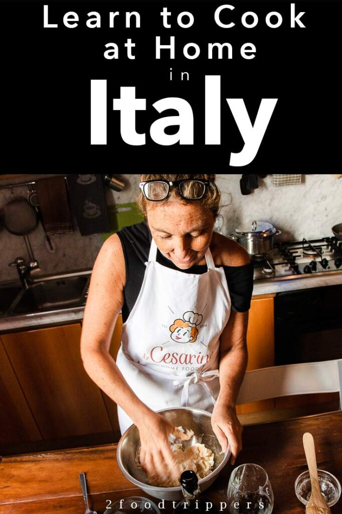 Pinterest image: image of Italian chef with caption 'Learn to Cook at Home in Italy'