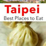 Pinterest image: image of soup dumpling with caption reading 'Taipei Best Places to Eat'