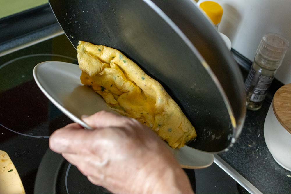 Rolling Omelette onto the Plate