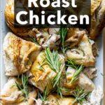 Pinterest image: image of roast chicken with caption 'Simple Roast Chicken'