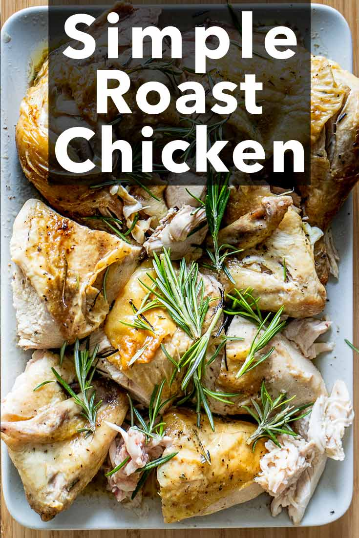 Pinterest image: image of roast chicken with caption 'Simple Roast Chicken'