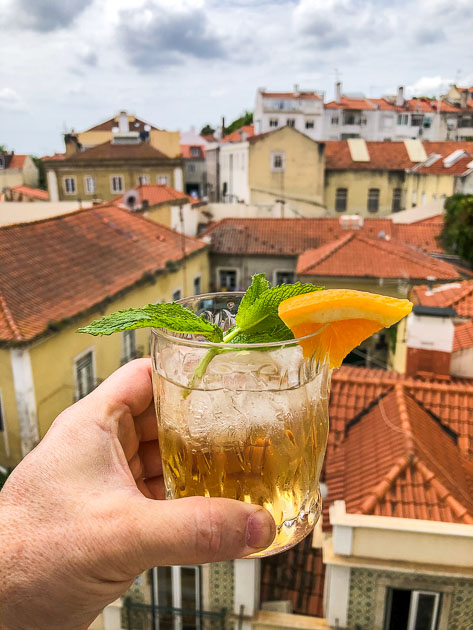 White Port and Tonic Cocktail in Lisbon