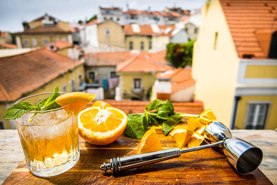 White Port and Tonic Cocktail with Mint and Orange on Lisbon Ledge