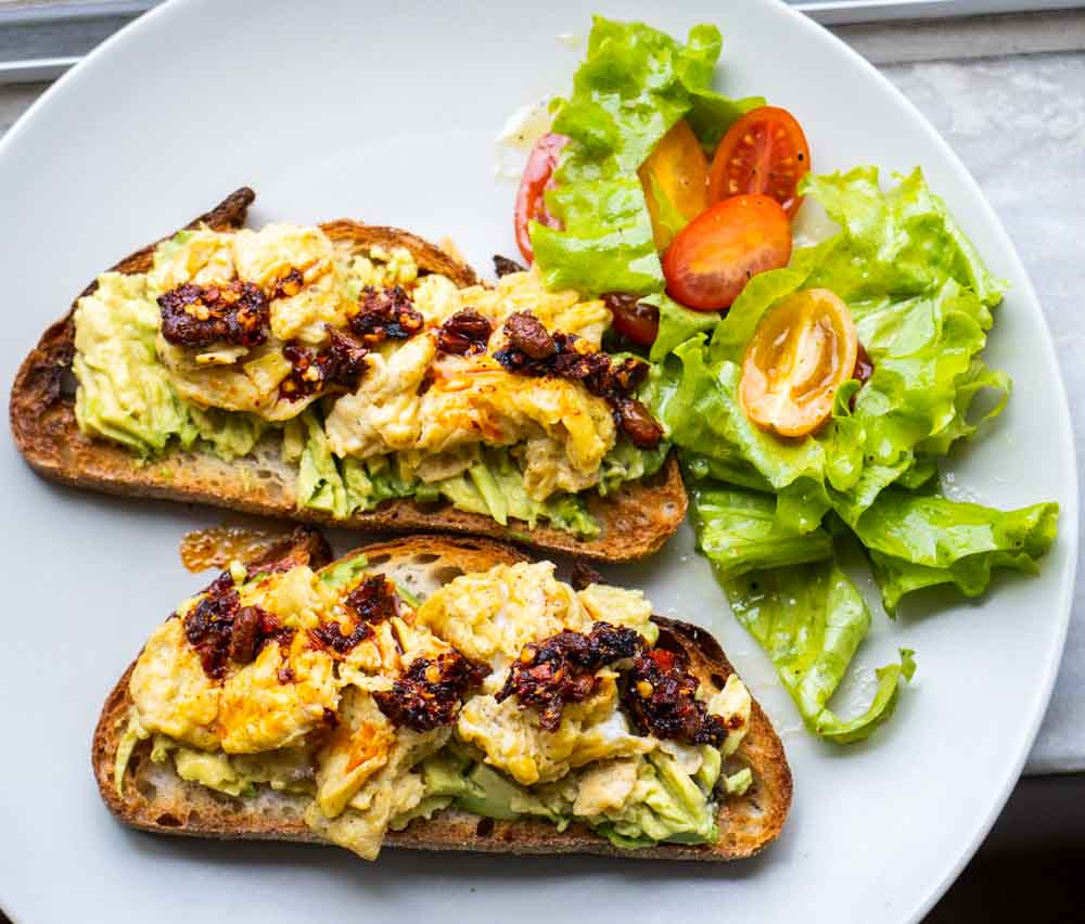 Avocado Egg Toast with Chili Crisp with Salad