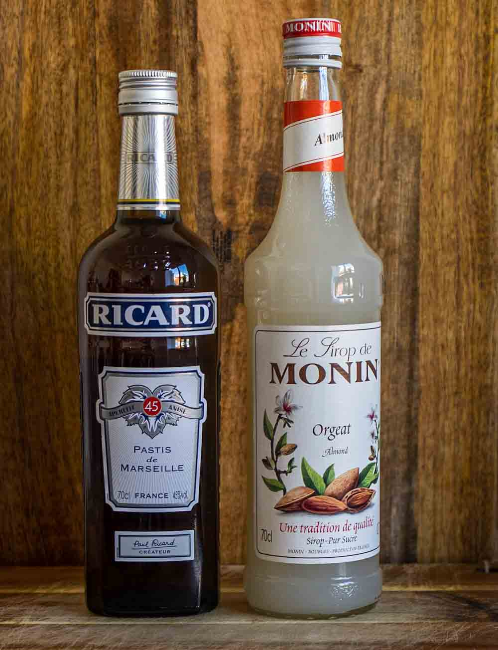 Bottles of Pastis and Orgeat