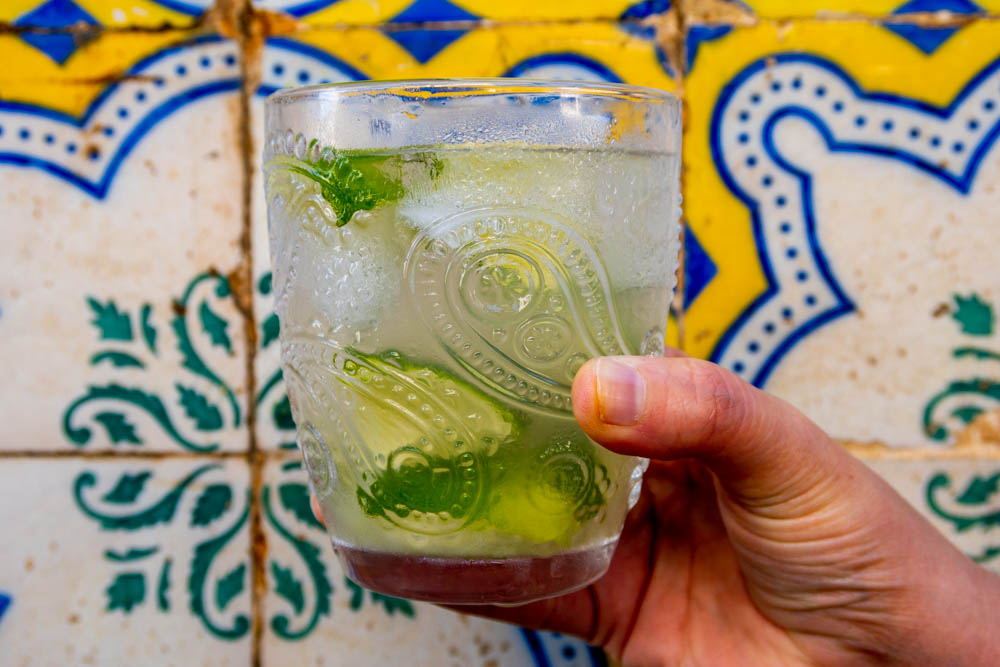 Caipirinha Next to Colorful Tiles