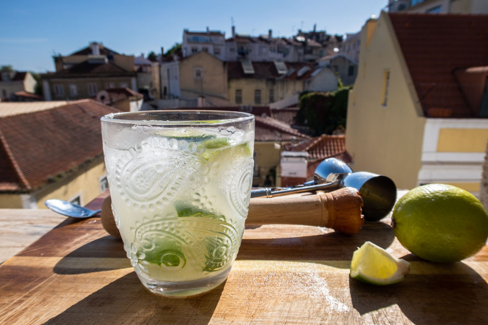 Caipirinha and Ingredients on Lisbon Ledge