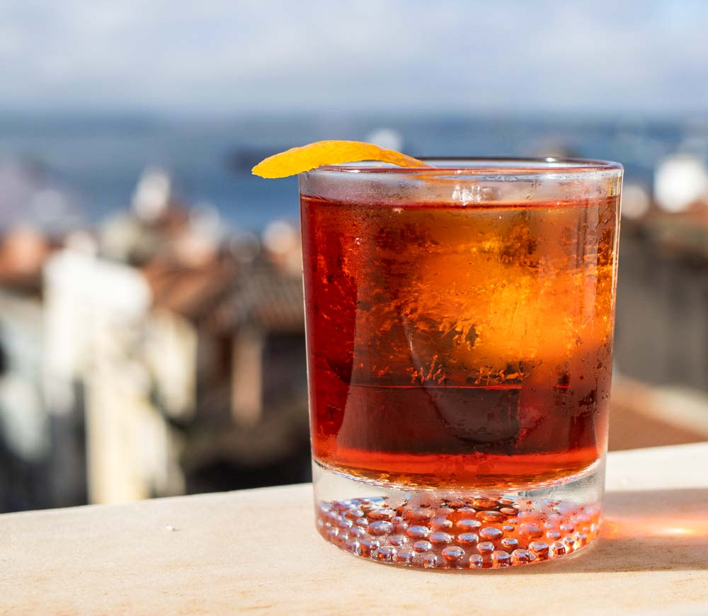 Campari Negroni on Window Sill