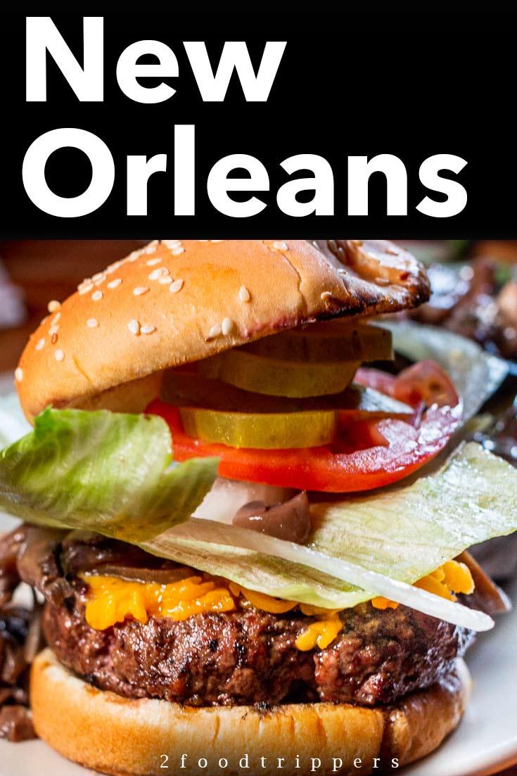 Pinterest image: image of hamburger with caption 'New Orleans'