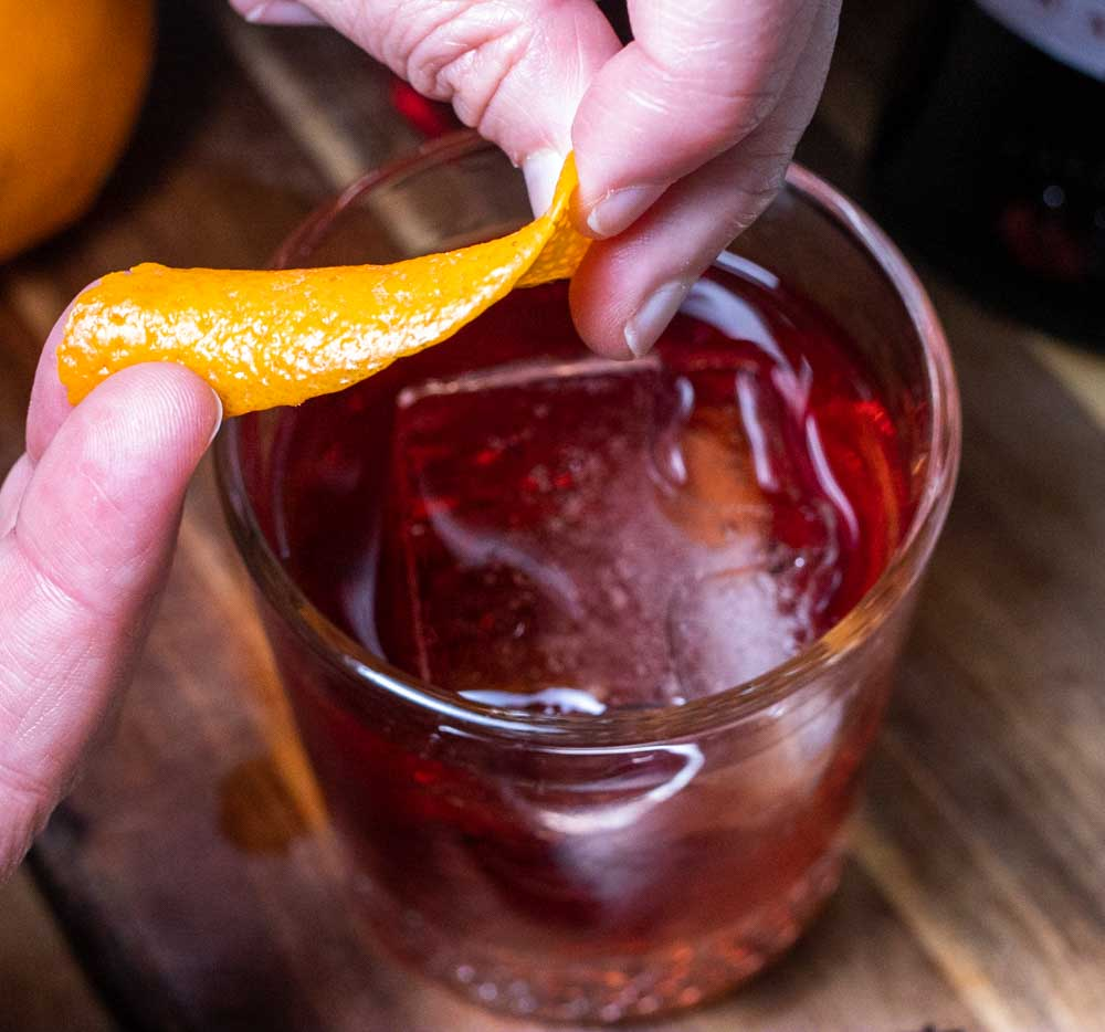 Expressing Orange Peel for a Negroni