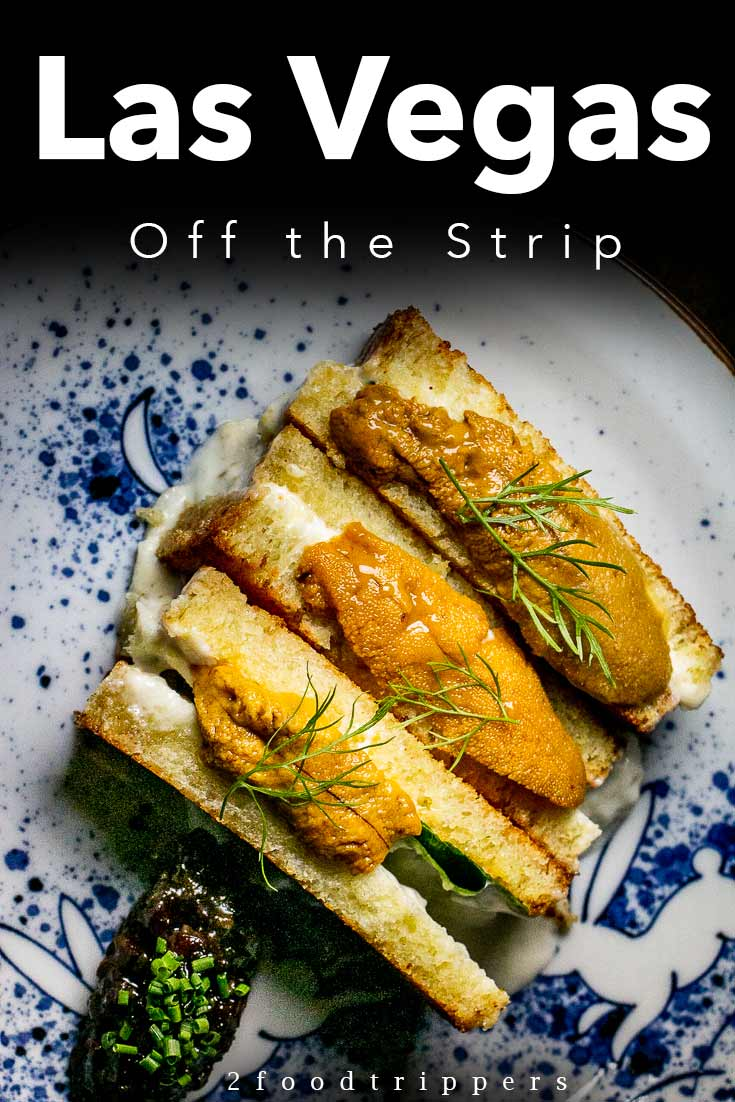 Pinterest image: image of Asian food in Las Vegas with caption reading 'Las Vegas Off the Strip' Guide'