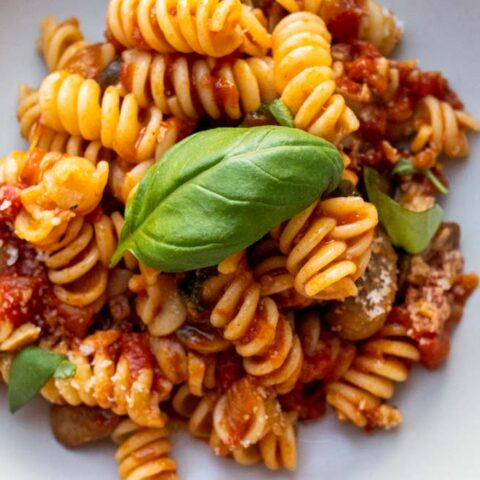 Mushroom Tomato Pasta with Fresh Basil