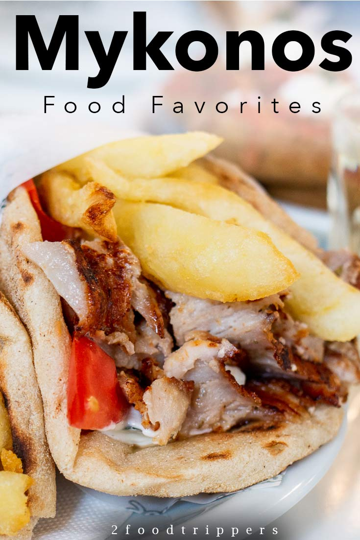 Pinterest image: image of gyro with caption 'Mykonos Food Favorites'