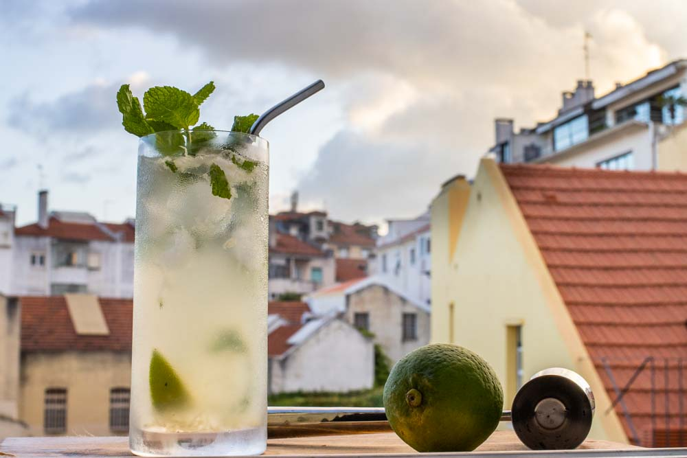 Classic Mojito with View of Lisbon