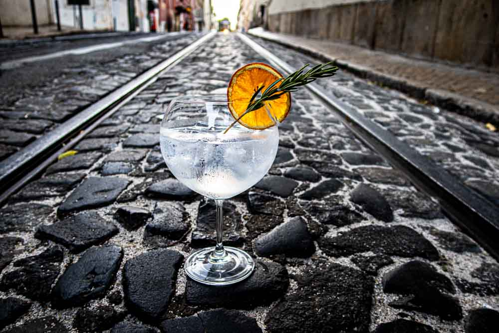 Gin and Tonic on Lisbon Street with Cable Car